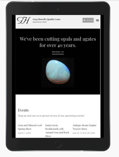 custom ecommerce website - tablet view